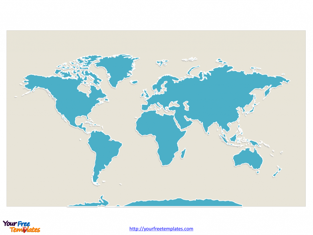 World Map With Continents - Free Powerpoint Templates intended for Printable Map Of Continents
