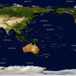 World Physical Satellite Image Giclee Print   Pacific Centered With World Maps Online Printable