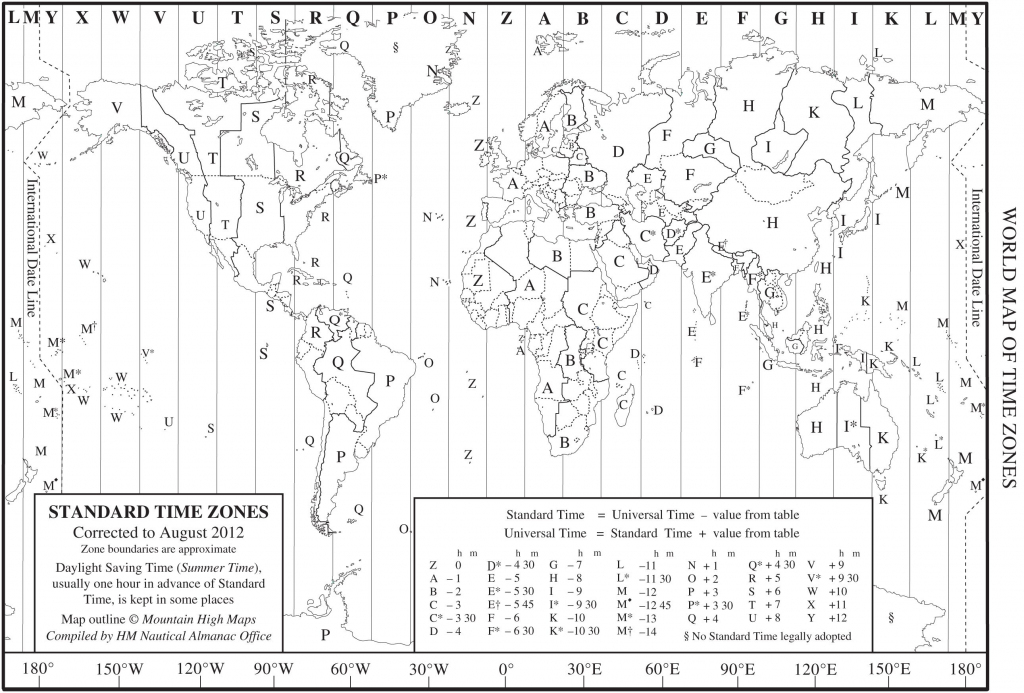World Time Zone Map As A Printable Pdf. Note That This Is throughout Printable Time Zone Map For Kids