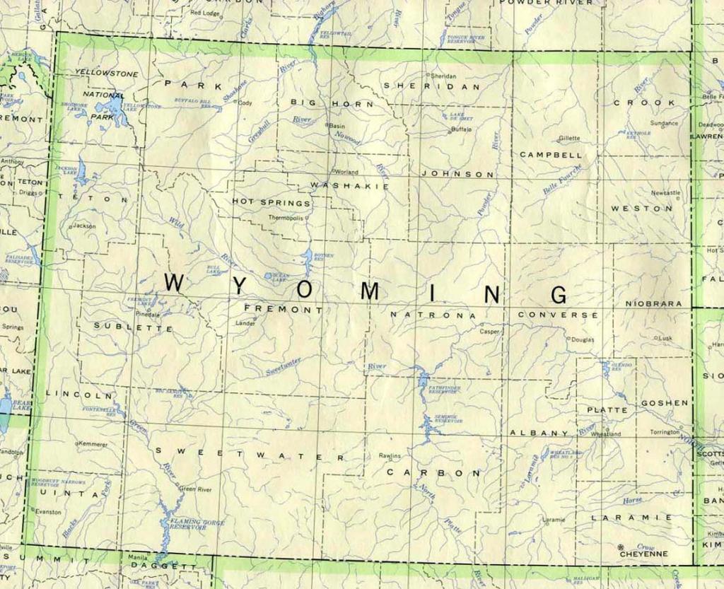 Wyoming Printable Map pertaining to Printable Road Map Of Wyoming