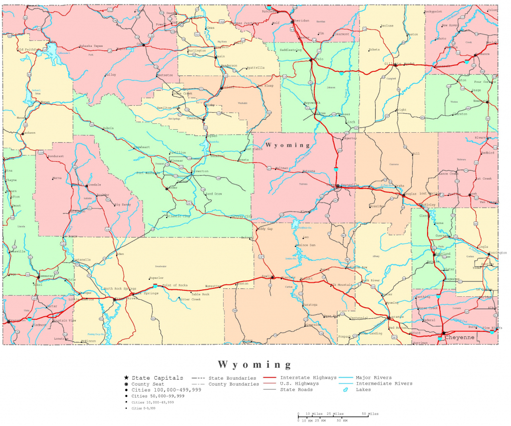 Wyoming Printable Map within Printable Road Map Of Wyoming