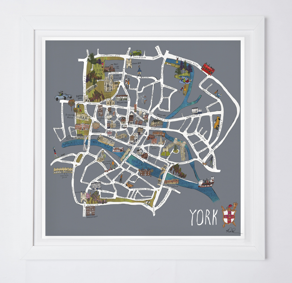 York Map Fine Art Print - Katie Cardew Illustrations intended for York Street Map Printable
