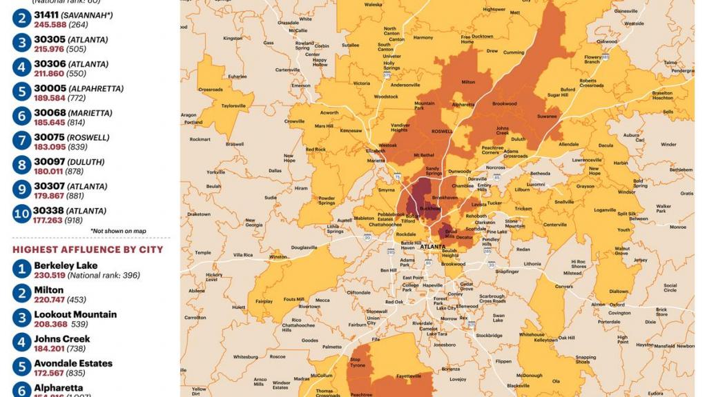 Zip Code 30327 'epicenter' Of Atlanta Affluence (Slideshow regarding Atlanta Zip Code Map Printable